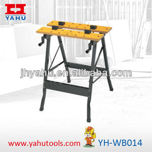 Fold down woordworking hydraulic workbench with clamp