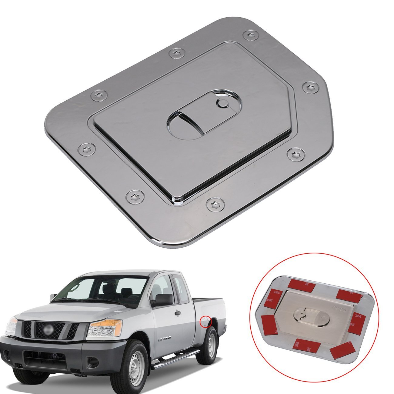 Get Quotations · Triple Chrome Plated Fuel Tank Cap Gas Door Cover for  Nissan Titan 2004-2014