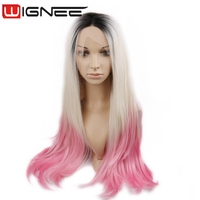 Lace Front Synthetic Wig 28 Inch Long Silky Straight 3 Tones Ombre Black To Off White and Pink Color Cosplay Wig For Black Women
