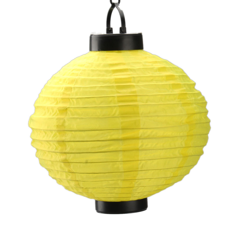 New 10 Automatic Charging Solar Chinese Round Cloth Paper Lantern Light Lamps Yellow Home Garden Party Wedding Decoration In Price On