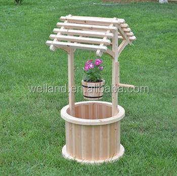 Outdoor Wooden Wishing Well Bucket Flower Planter Buy Wooden