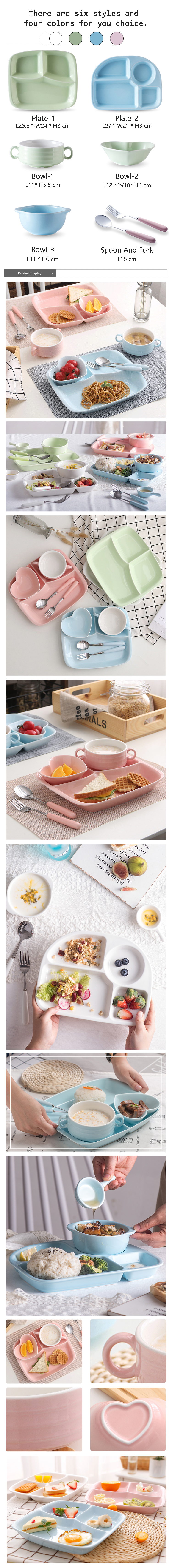 Ceramic Kids Dinner Set Free Combination Porcelain Dinnerware Sets Hot Sale Wholesale Ceramic Plate Bowl Fork Spoon