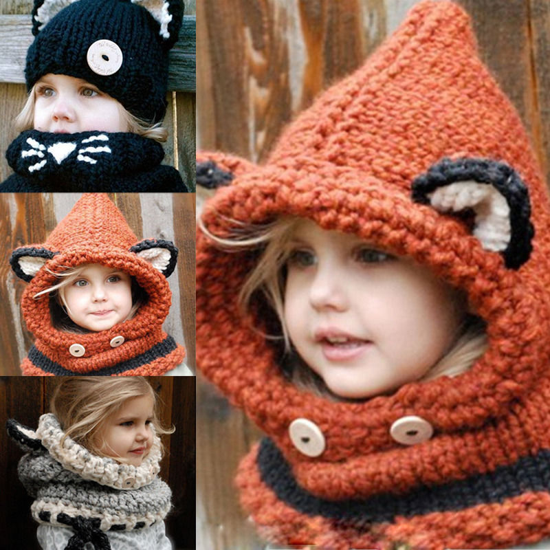 2015 New baby Orange Fox Cat Winter Beanie Kids Boy Girl Warm Hat Hooded  Scarf Earflap Knitted Cap 3c6a412247b4
