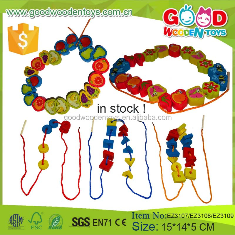 Wooden Educational Shape Learning Colorful Fruit and Animal Bead Game Threading Toy DIY Bead