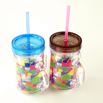 Juice Cup 450ml Colorful Plastic Straw