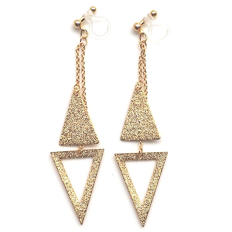 Miyabi Grace Women's Long Chain Triangle Invisible Clip On Earrings Dangle Hoops Gold tone