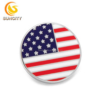 High quality custom logo semi-cloisonn pin Amerian flag hard enamel round and squares lapel pin