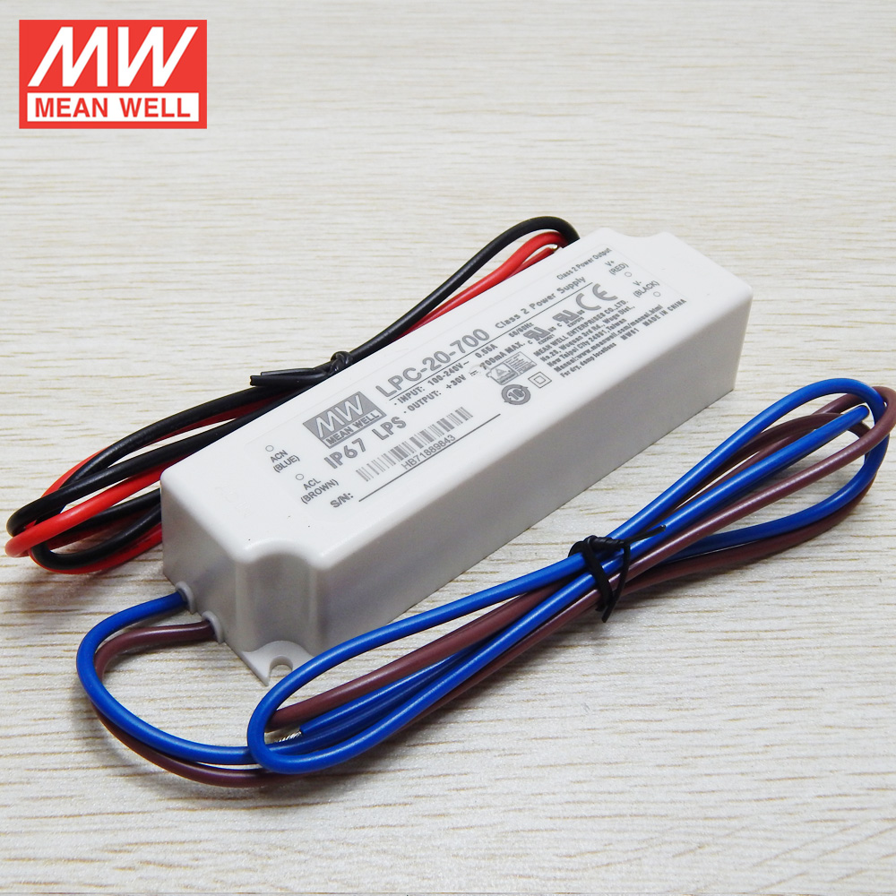 MEAN WELL 20W 350mA Constant Current LED Driver UL&CE IP67 LPC-20-350