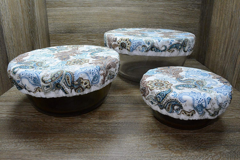 Eco-Friendly//Reusable//Bowl Covers//Set of 3//Botanical Paisley