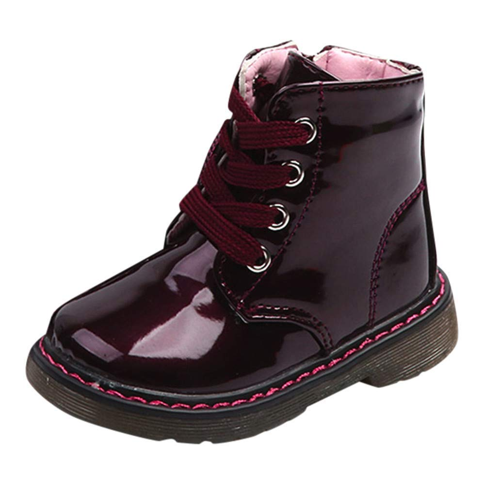 Autumn Winter Baby Children Warm Martin Sneaker Boots,Outsta Infant Boys Girls Casual Warm Snow Shoes (US:6(Age:18-24M) AS:22, Wine)