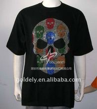 2012 Rhinestone printing logo on black t shirt