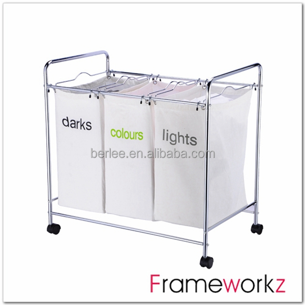Metal Chrome Plate Laundry Baskets With Wheels Hamper Sorter