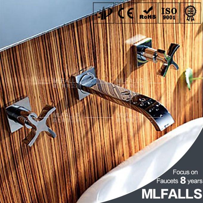chrome moderno acabado latn bao montado en la pared de orificios para lavabo grifo manijas
