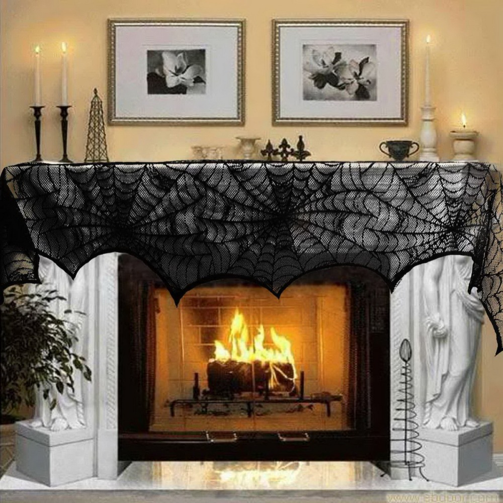 Fireplace Halloween Decorations: New Hot! Halloween Party Decoration Black Lace Spiderweb