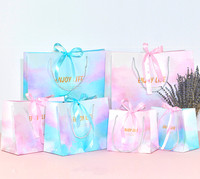 Private Label Pink And Blue Gradient Wedding Gift Paper Bag With Ribbon Closure