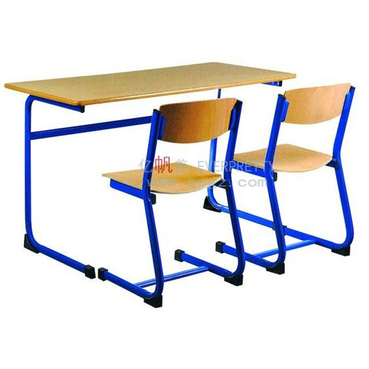 Wooden Student Desk and Chair, Hor Sell Double Student Table and Chair Set for High School