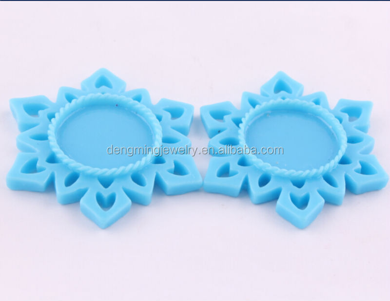 Turquoise 55MM Christmas Snowflake Resin Setting Trays, Frame Resin Flower Flatback Cabochon Base, fit 25MM Glass Cabochon