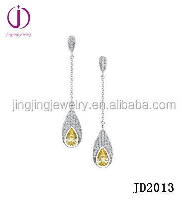 Gold jewelry water drop citrine 925 Sterling Silver earrings with CZ stone