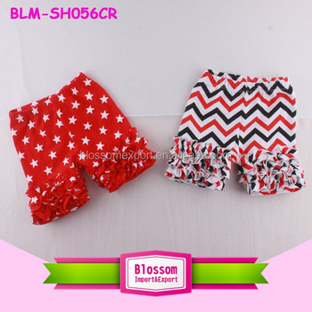 4th of July Icing Boutique Shorts Wholesale Cheap Star Chevron Pattern Toddler Girls Soft Kids Cotton Ruffled Icing Shorties