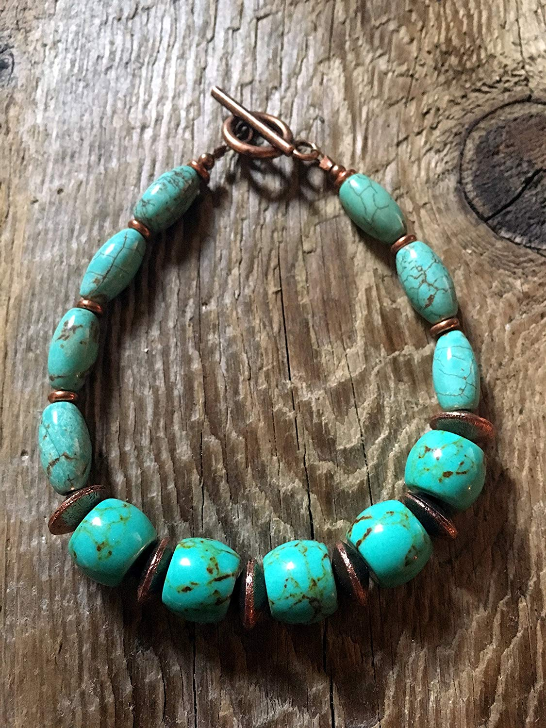 Turquoise Bracelet - Large Barrel Turqoiuse Beads and Copper Brushed Copper Saucer Spacers with a Matte Copper Simple Toggle