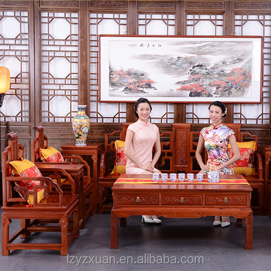 2017 new popular model wooden hall furniture simple and artistic sofa set design and price