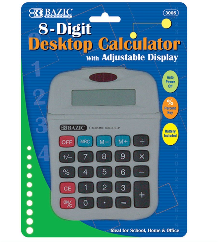 Bazic 8-Digit Calculator With Adjustable Display [72 Pieces] *** Product Description: Bazic 8-Digit Calculator With Adjustable Display. 8-Digit Desktop Calculator With Adjustable Display Full Function Memory Features Protective Flip Hard Shell Co ***