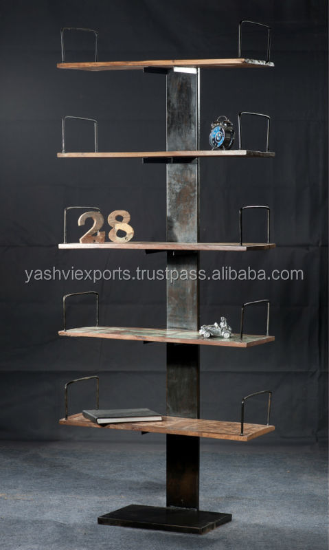 Iron wooden style Book case