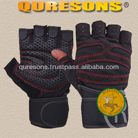 Gym fitness weigh lifting synthetic leather gloves for men half finger red and grey colours Gel Padding safe your hands