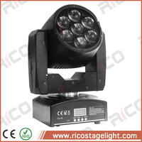Night Club Rotating Light DMX 512 7*12w RGBW mini Dj Moving Heads Zoom Wash Light