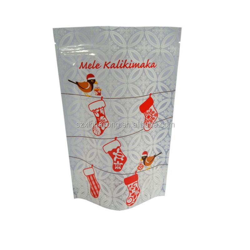 China Supplier packaging bag Plastic zip lock stand up pouches for Mele kalikimaka gift