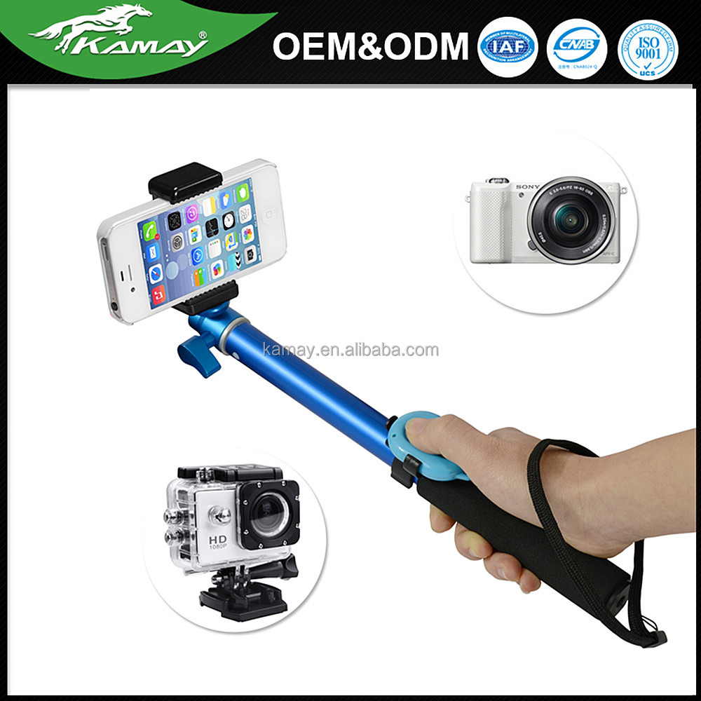 Wholesale price super light aluminum remote control selfie stick mini selfie stick with bluetooth support Android / IOS