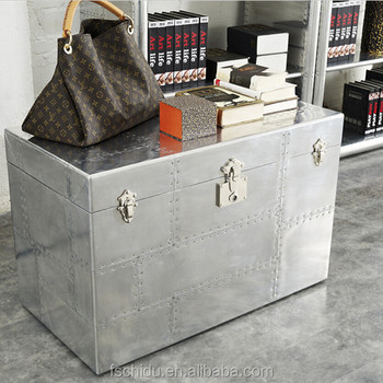 Ordinaire Antique Silver Aluminum Storage Trunks/American Style Retro Storage Cabinet  L837