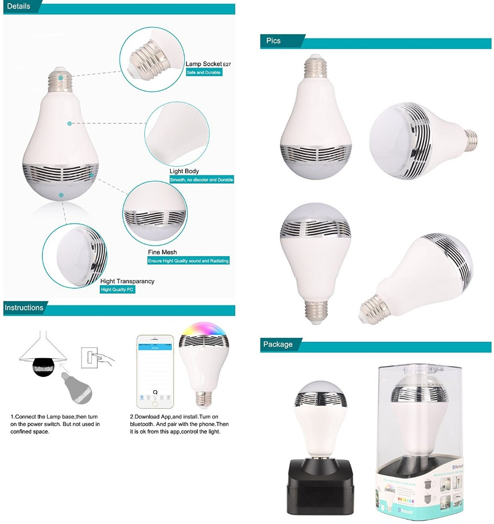 <strong>E27</strong> Smart LED Light Bulbs APP Controlled Dimmable Color Changing Decorative Christmas Party Lighting