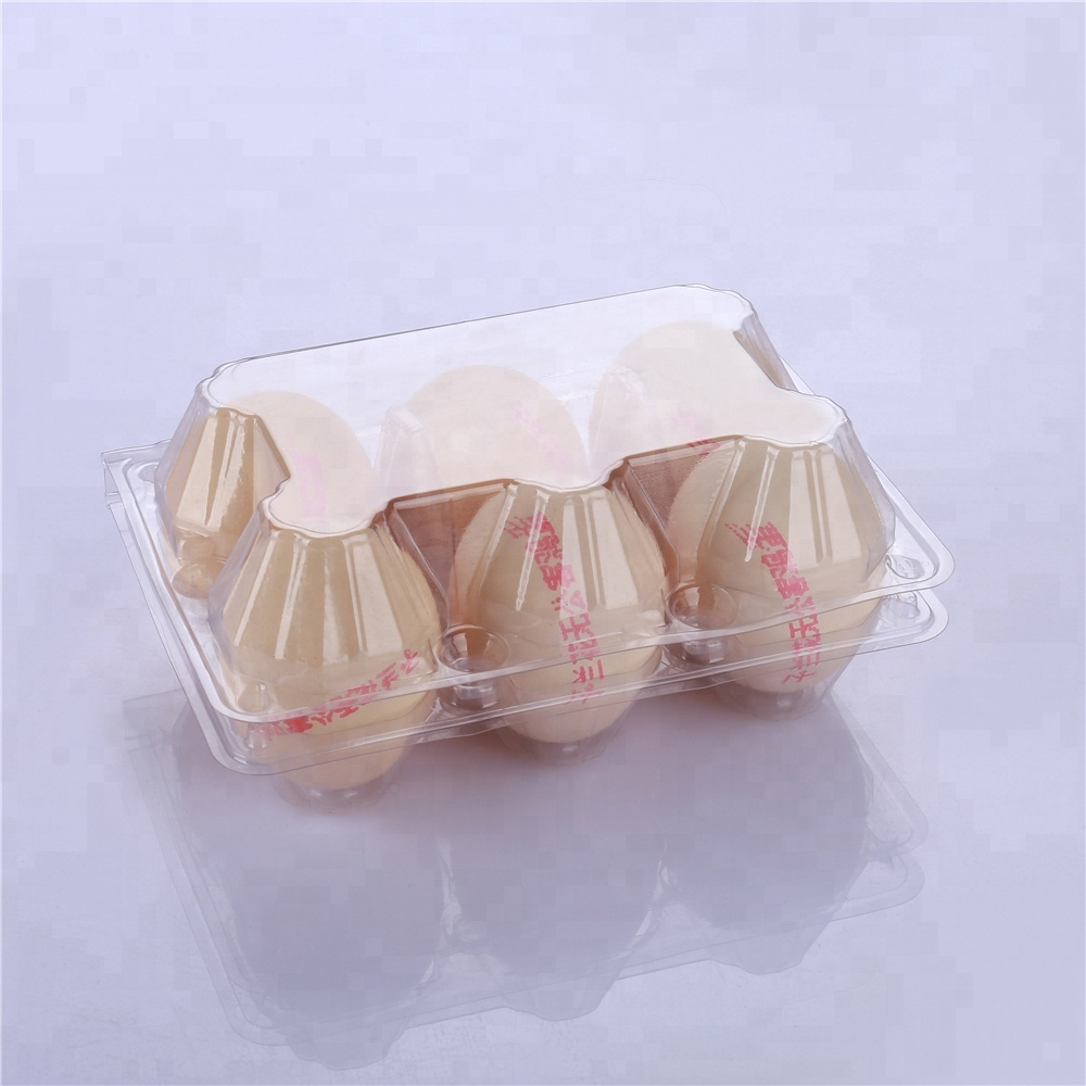 Transparent Clamshell 6 cell plastic egg tray box carton