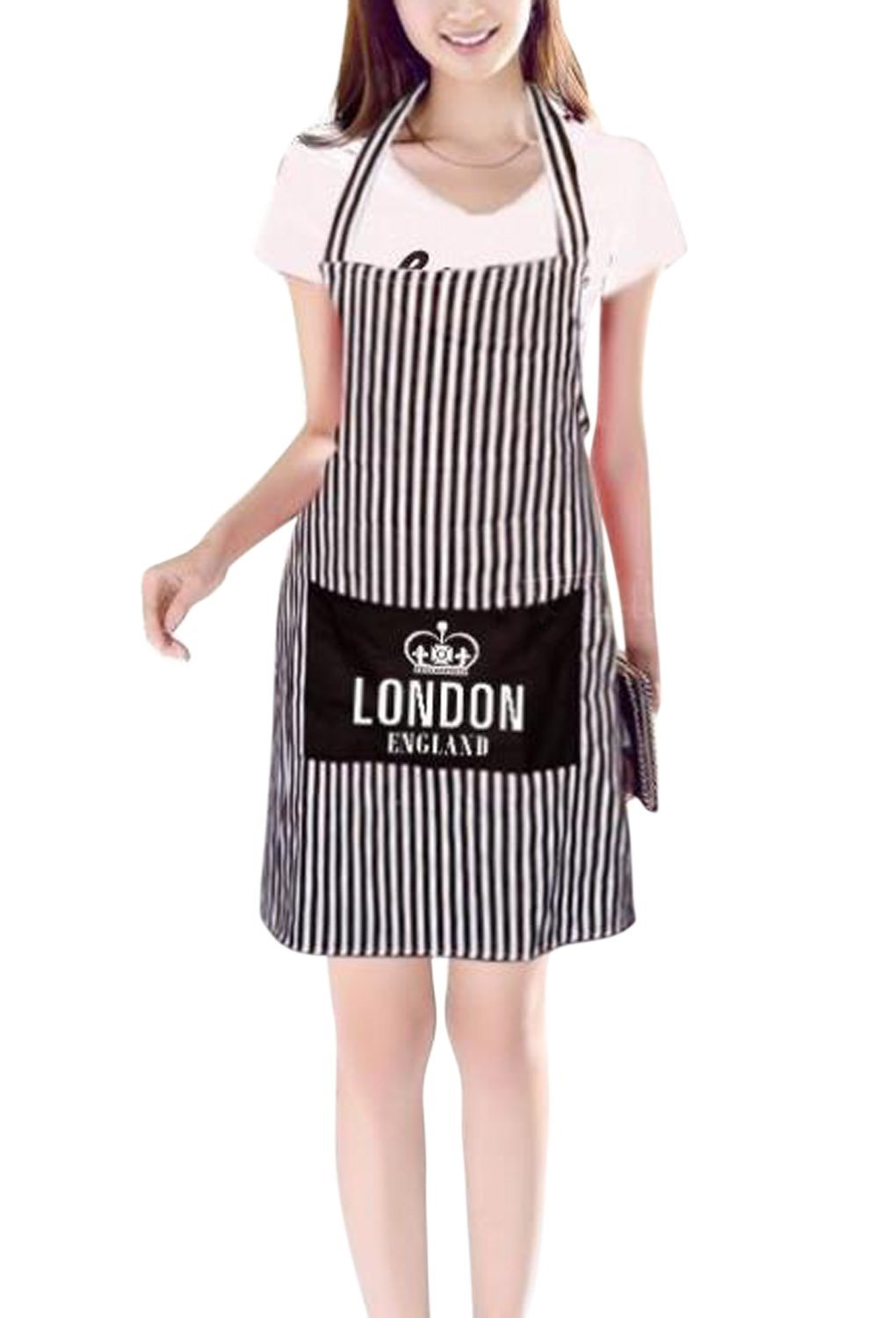 JINTN Men Women Home Kitchen Chef Apron with Pockets Breathable Cotton Stripe Bib Restaurant Waitresses Apron for for Cooking, Baking, Gardening, BBQ-Natural