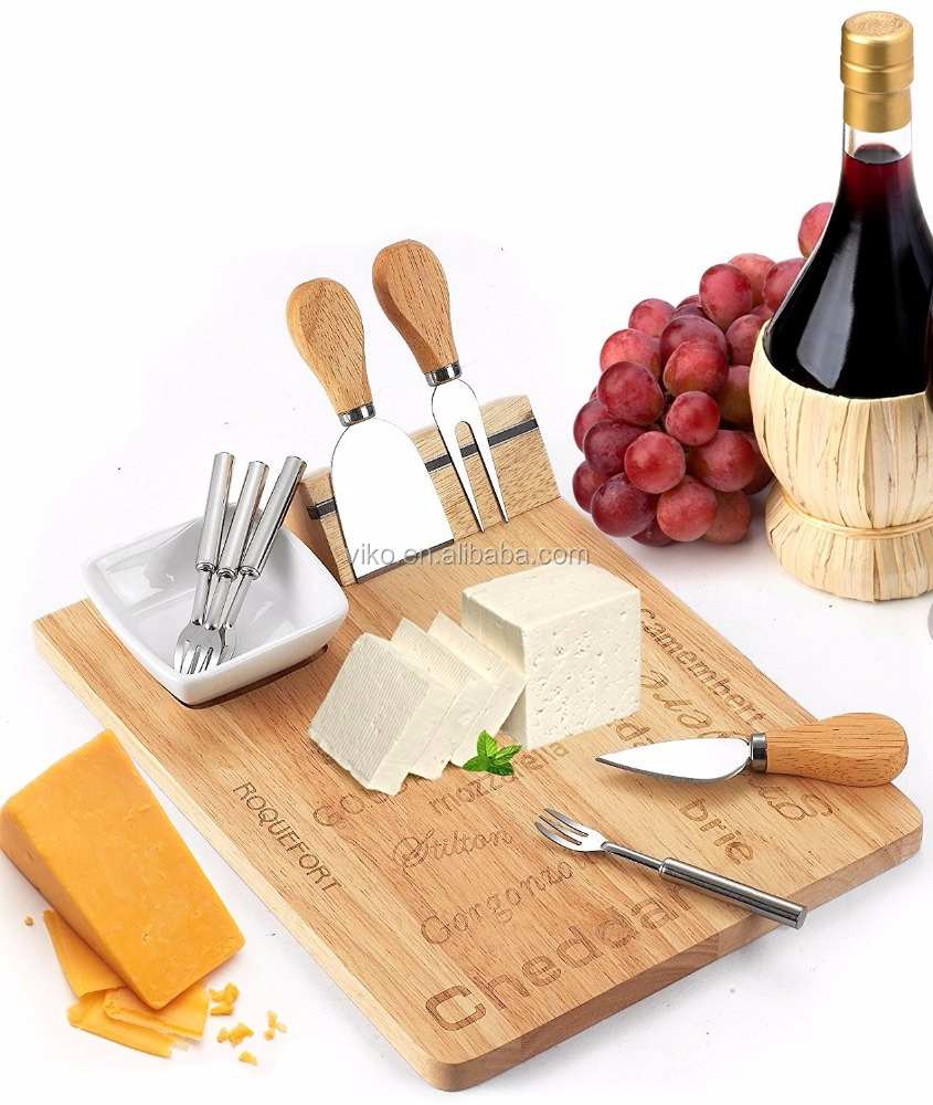 Cheese Board Set - Set Includes 3 Piece Cheese Knife Set & 4 Small Cheese Serving Forks