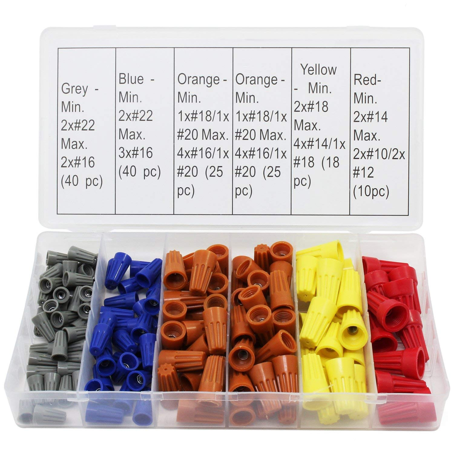 OCR Electrical Wire Connector Twist-On Screw Terminal Spring Inserted Nuts Caps Assortment Set 158PCS