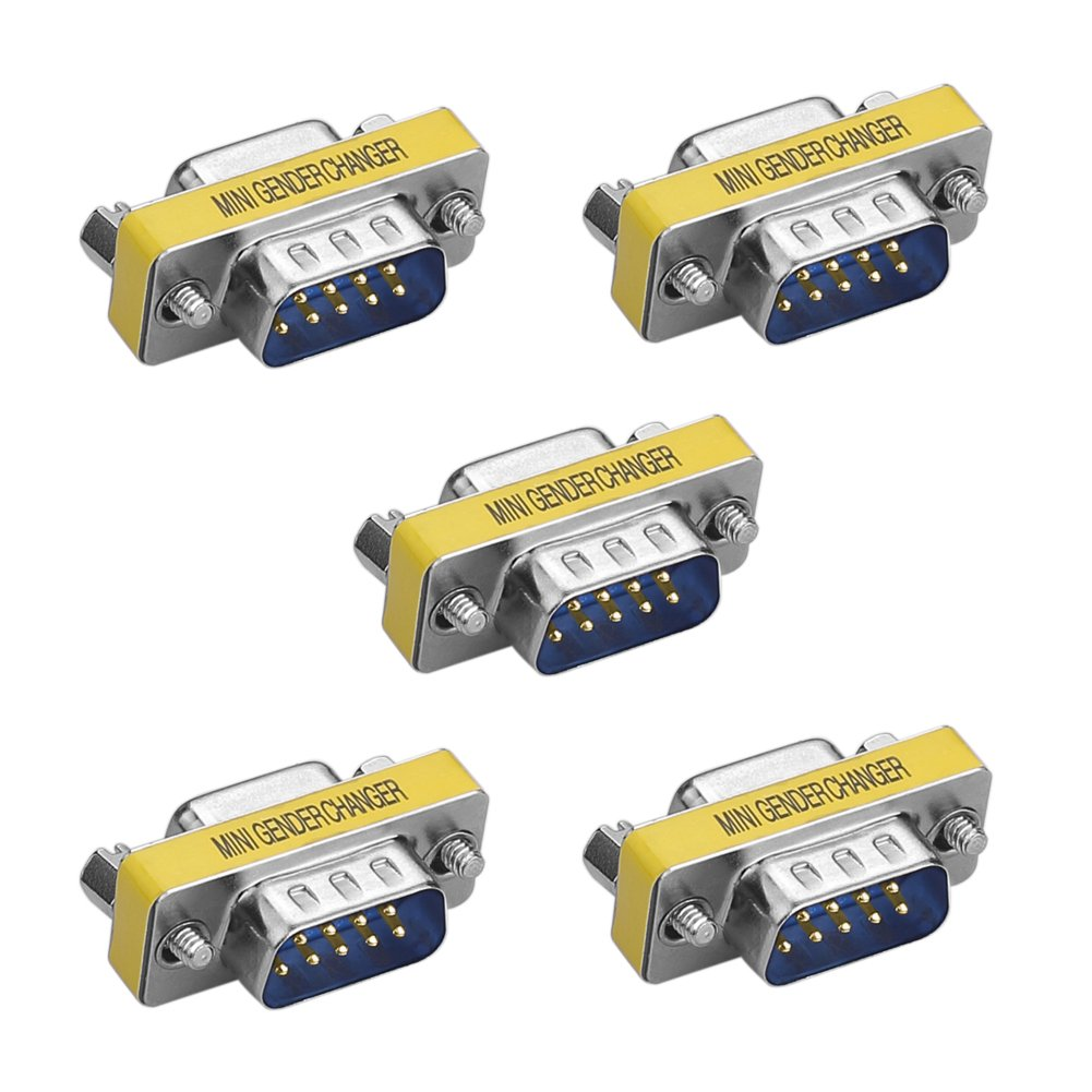 SIENOC 5 Packs 9 Pin RS-232 Serial DB9 Connector Male to Female Cable Gender Changer Coupler Adapter