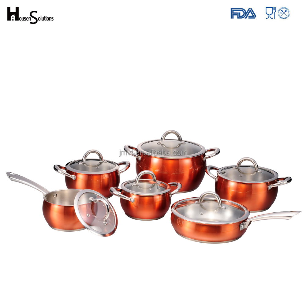 2017 kitchen accessories 12 pcs apple-shape high temperature painting stainless steel cookware with induction bottom