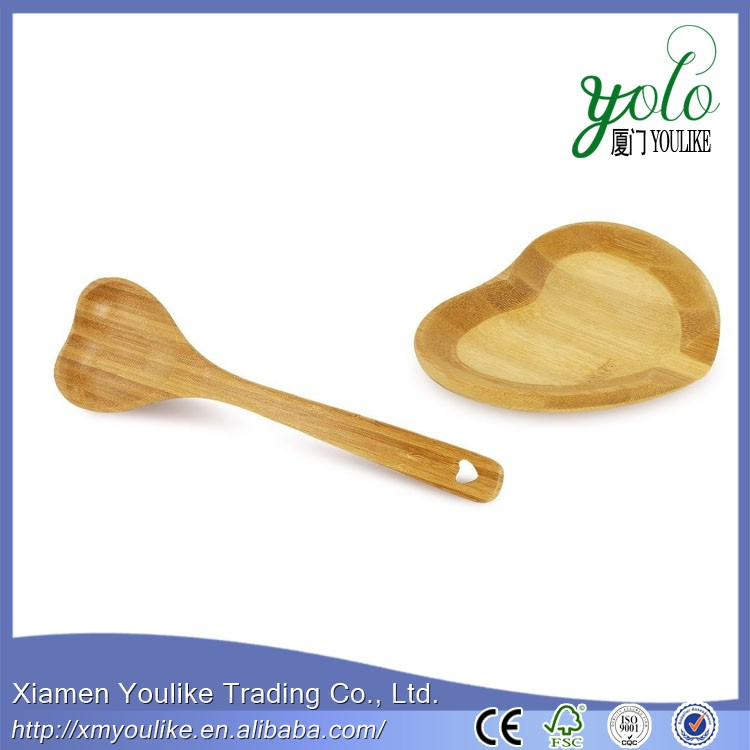 Heart Shaped Bamboo Spoon And Rest Set