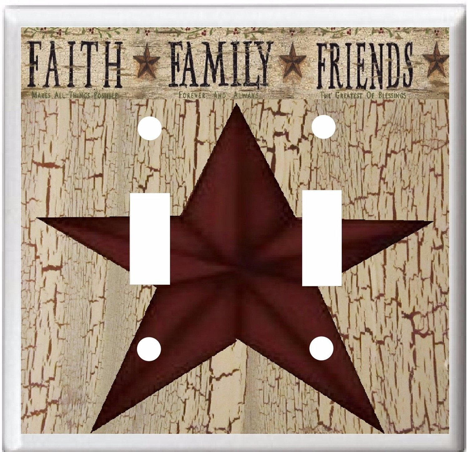 COUNTRY BARN STAR FAITH FAMILY FRIENDS LIGHT SWITCH COVER PLATE OR OUTLET (light Double)