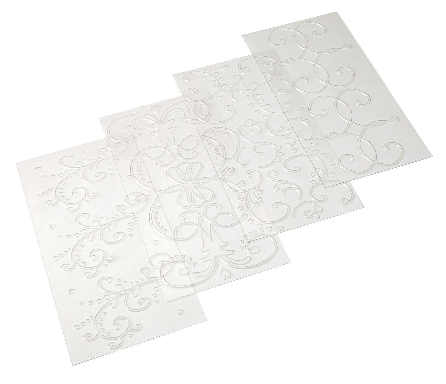 Generic YanHong-US3-151027-153 8yh2518yh Mat Set Clear 4-Piece Classic nt Imprint Cake Boss Cake Boss Fondant Imprint 4-Piece Decorating Tools corating Baking Mat Set Clear