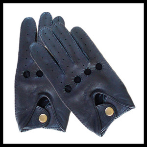 Fine Quality Deer Skin Men's Classic Car and Bus Driving Gloves with Holes
