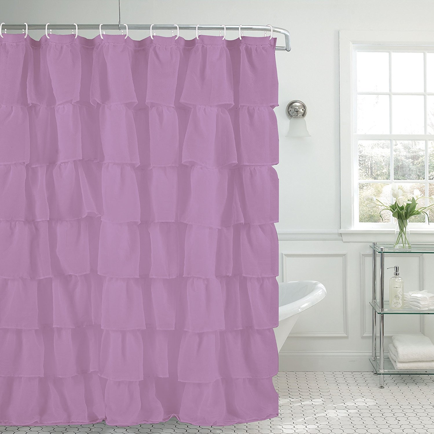 Get Quotations 1PC CHIC RUFFLED GYPSY LAYERED SHOWER CURTAIN FOR YOUR BATHROOM 70X72 IN LILAC