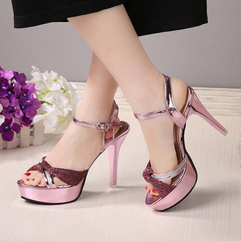 1b5882a5b44 2017 New Design Ankle Strap Chunky Medium Heels Sexy Ladies Glitter  Charming Women Feet Sandals