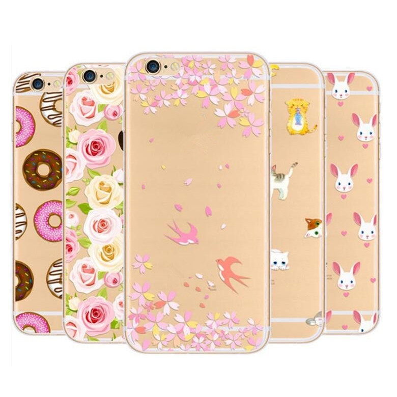 cell phone accessory pretty flower case TPU 0.5MM transparent phone case for smartphone