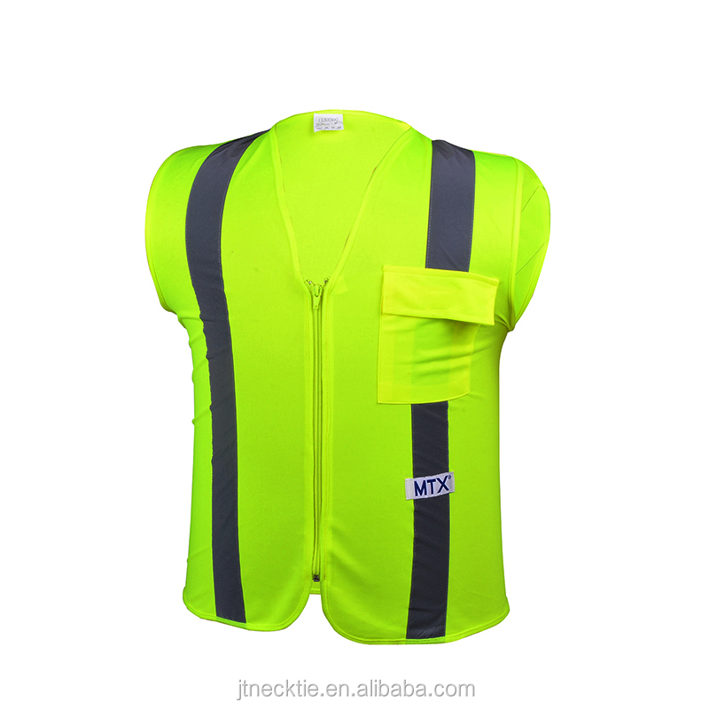 Pockets High Visibility Zipper Front reflective safety vest