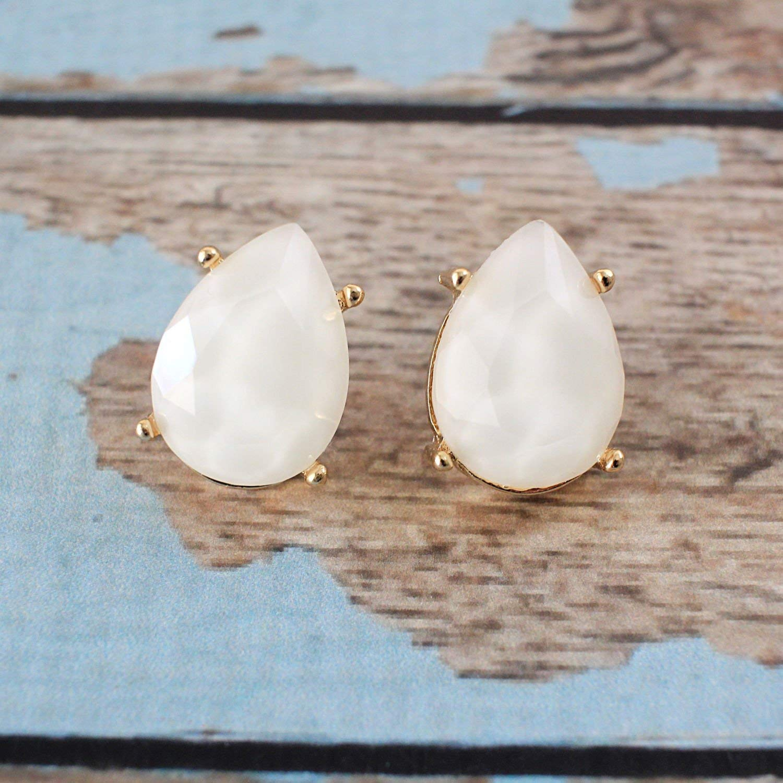Ivory Small Tear Drop Studs Earrings, Ivory Studs Earring, Bridal Earrings, Bridesmaid Earrings, Birthday Gift, Prom Earrings