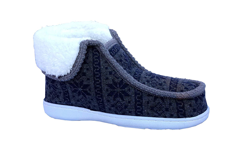 Women Indoor Outdoor Knitting Slipper Boot Moccasin Faux Fur Heavy Duty Rubber Shoe | 3028