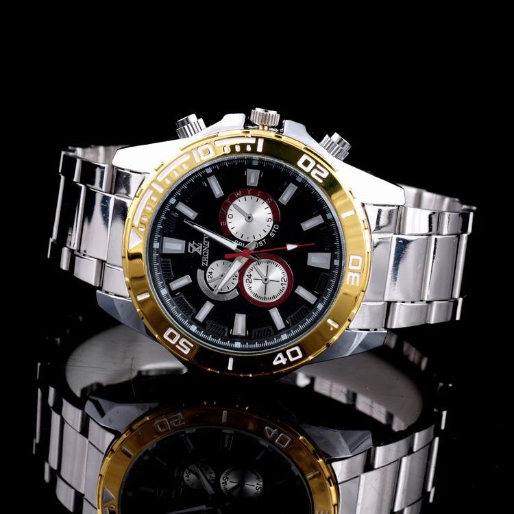 Decorative Chronograph Design Alloy Men's Waterproof Wrist Watches relogio masculino